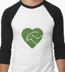 Dinosaur heart: Parasaurolophus (Green on white) Men's Baseball ¾ T-Shirt