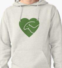 Dinosaur heart: Parasaurolophus (Green on white) Pullover Hoodie