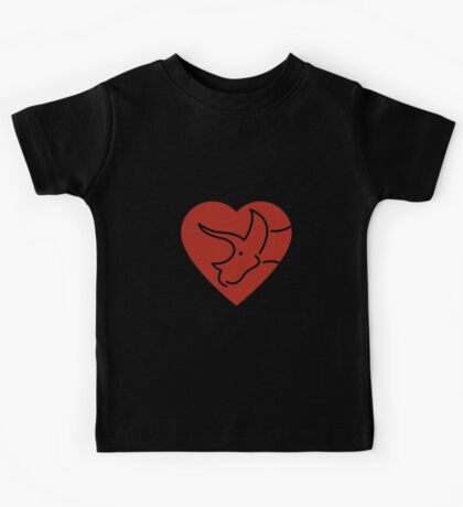 Dinosaur heart: Triceratops (Red on white) Kids Clothes
