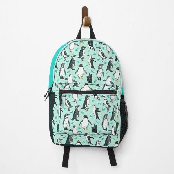 Lots of Little Penguins on mint Backpack