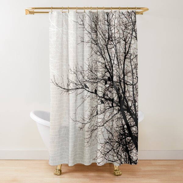 Doves in Tree Branches Modern Nature Dark Brown Taupe Shower Curtain