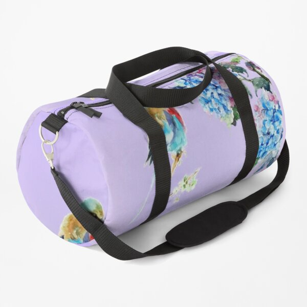 Prettily Perched Purple Duffle Bag