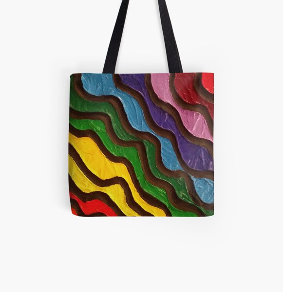 Rainbow Waves 2 Painting All Over Print Tote Bag