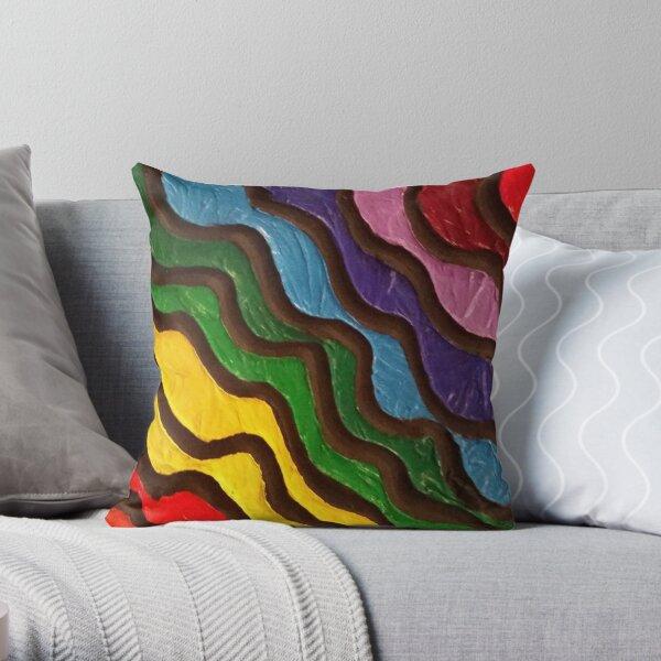 Rainbow Waves 2 Painting Throw Pillow