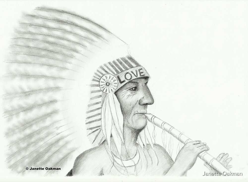 Native American Playing The Flute - Pencil Drawing by Janette Oakman