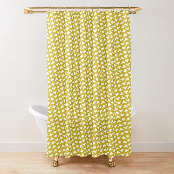 Triangle Reversed Pattern Print Mustard Shower Curtain