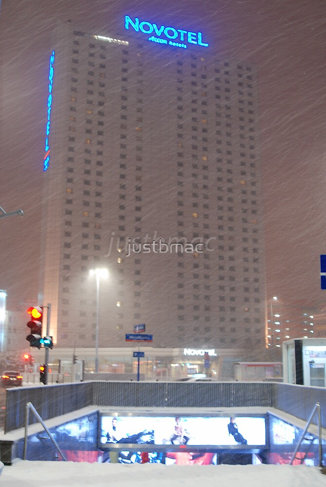 Warsaw: Snowy Novotel by justbmac