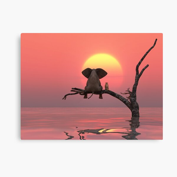 elephant and dog are sitting on a tree Canvas Print