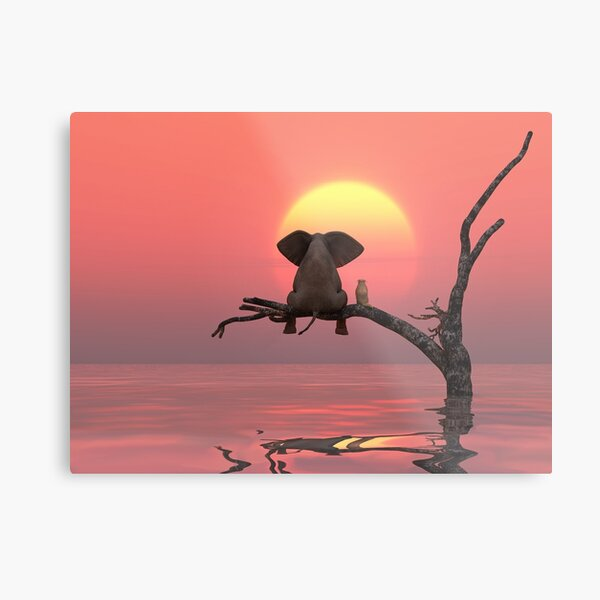 elephant and dog are sitting on a tree Metal Print