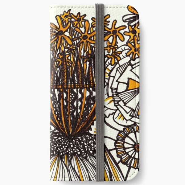 Mustard Black and White Floral linework drawing iPhone Wallet