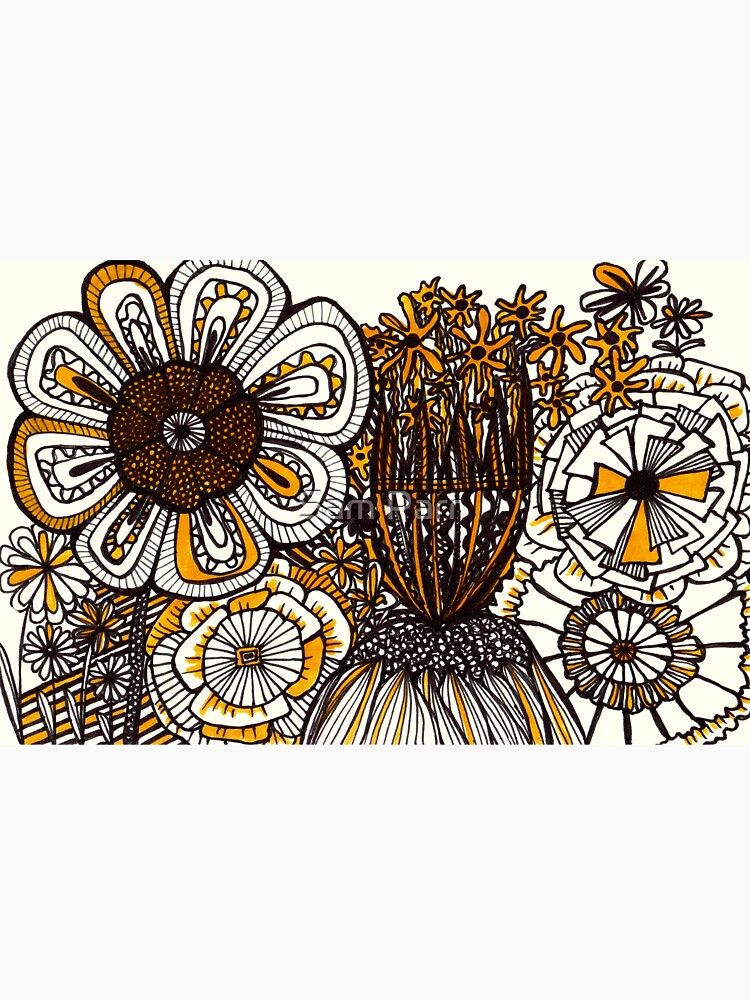 Mustard Black and White Floral linework drawing by SamJane