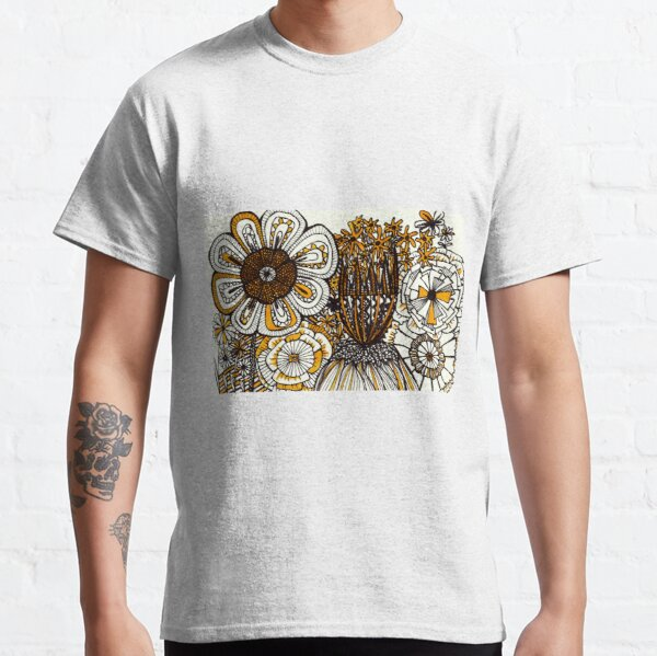 Mustard Black and White Floral linework drawing Classic T-Shirt