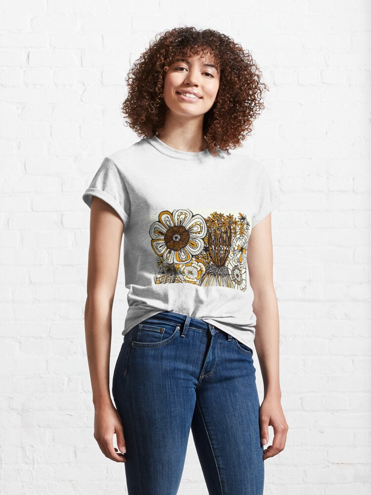 Alternate view of Mustard Black and White Floral linework drawing Classic T-Shirt