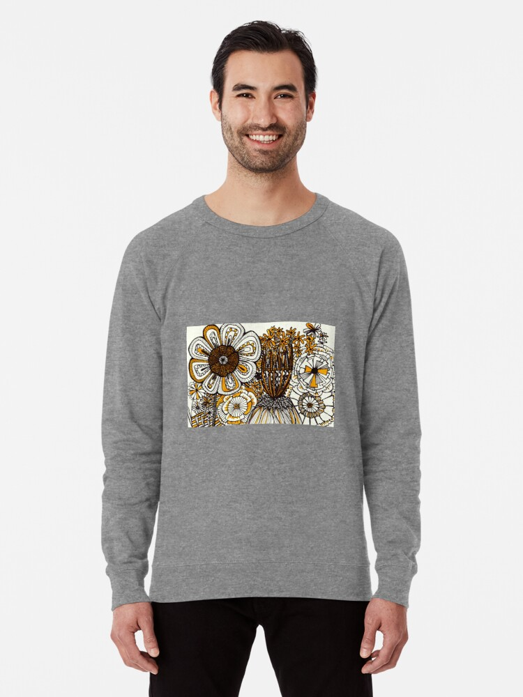 Alternate view of Mustard Black and White Floral linework drawing Lightweight Sweatshirt