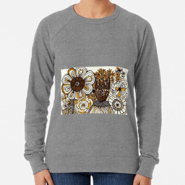 Mustard Black and White Floral linework drawing Lightweight Sweatshirt