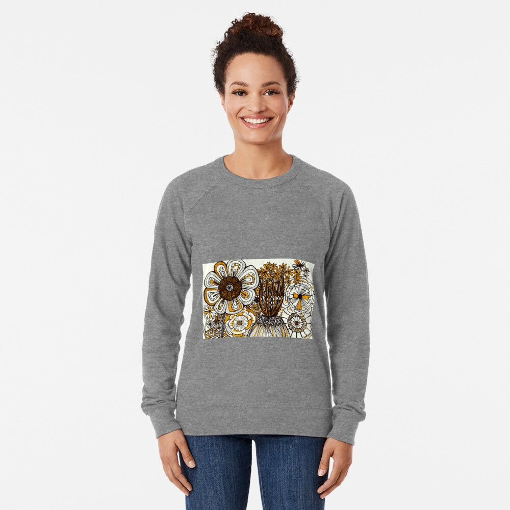 Mustard Black and White Floral linework drawing Lightweight Sweatshirt