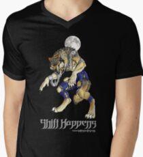 """""""Shift Happens"""" Full Moon Werewolf Men's V-Neck T-Shirt"""