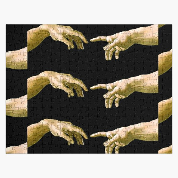 Touch of God, The Creation of Adam, (close up), Michelangelo, 1510, Genesis, Ceiling, Sistine Chapel, Rome, on BLACK. Jigsaw Puzzle