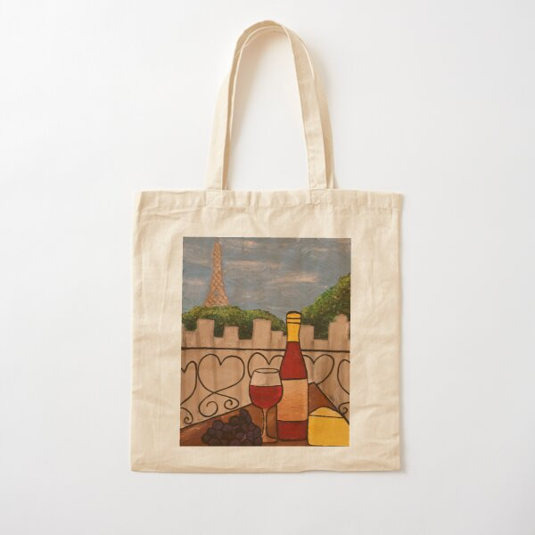 Wine on the Balcony Cotton Tote Bag
