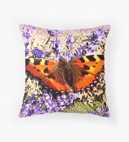 Small Tortoiseshell on Lavender Throw Pillow