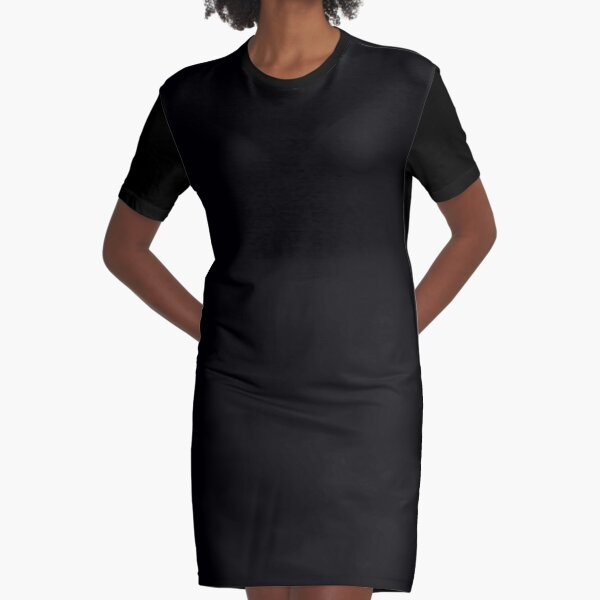 Solid Black Graphic T-Shirt Dress