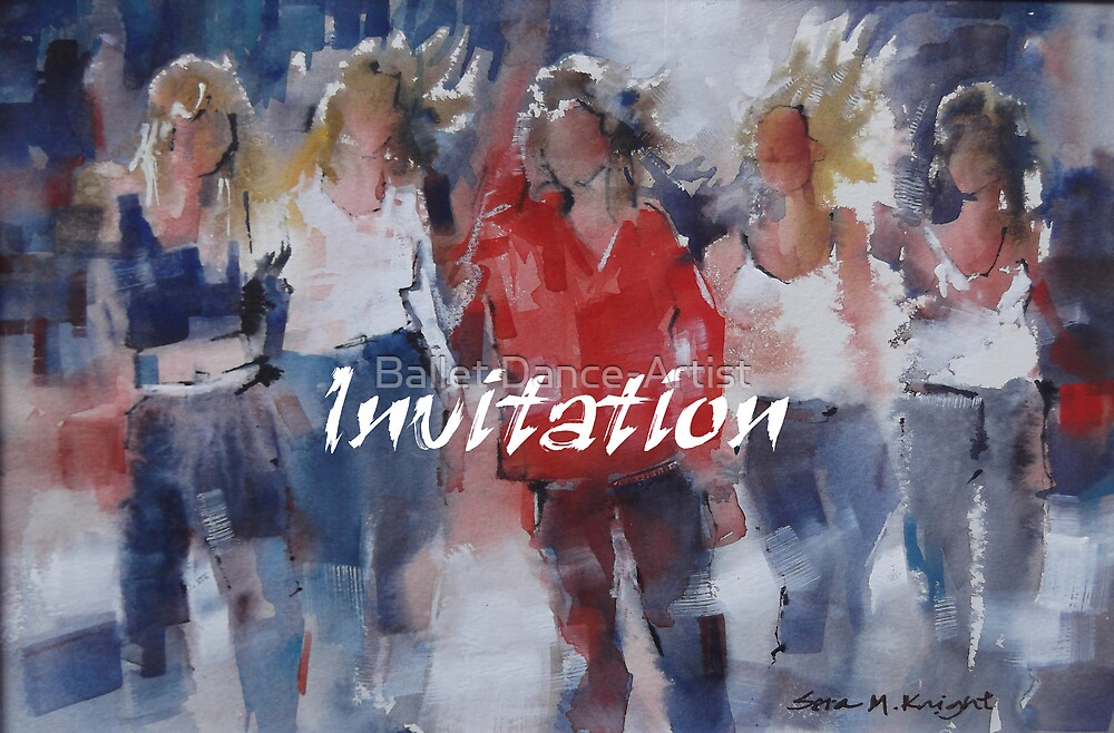 Invitation Greeting Cards - Art - Girls - Friends by Ballet Dance-Artist