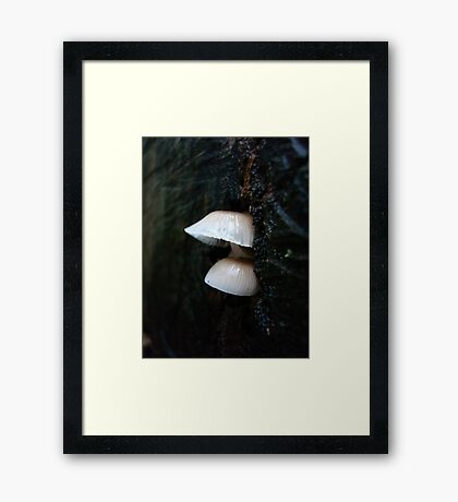 LITTLE CLOCHES ON THE BIG OAK STUMP Framed Print