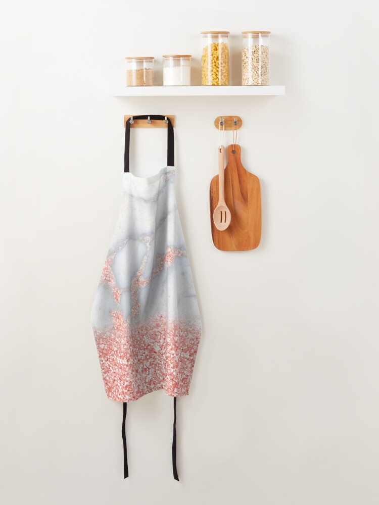 Alternate view of Rosegold Glitter Pink Sparkle Faux Marble Apron