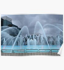 Stormy Weather at Friendship Fountain Poster