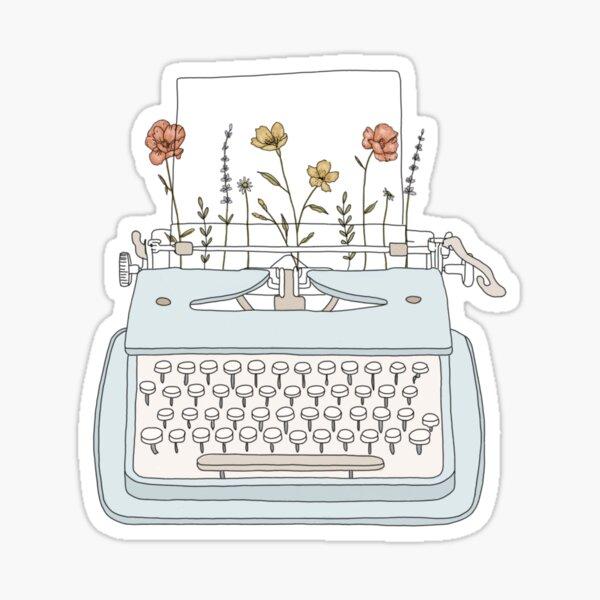 Typewriter with flowers Sticker