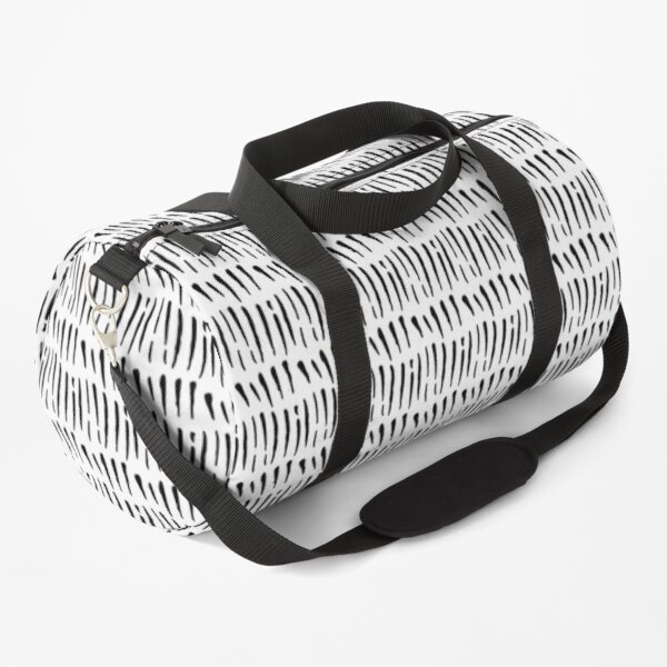 Black Ink Lines on White Duffle Bag