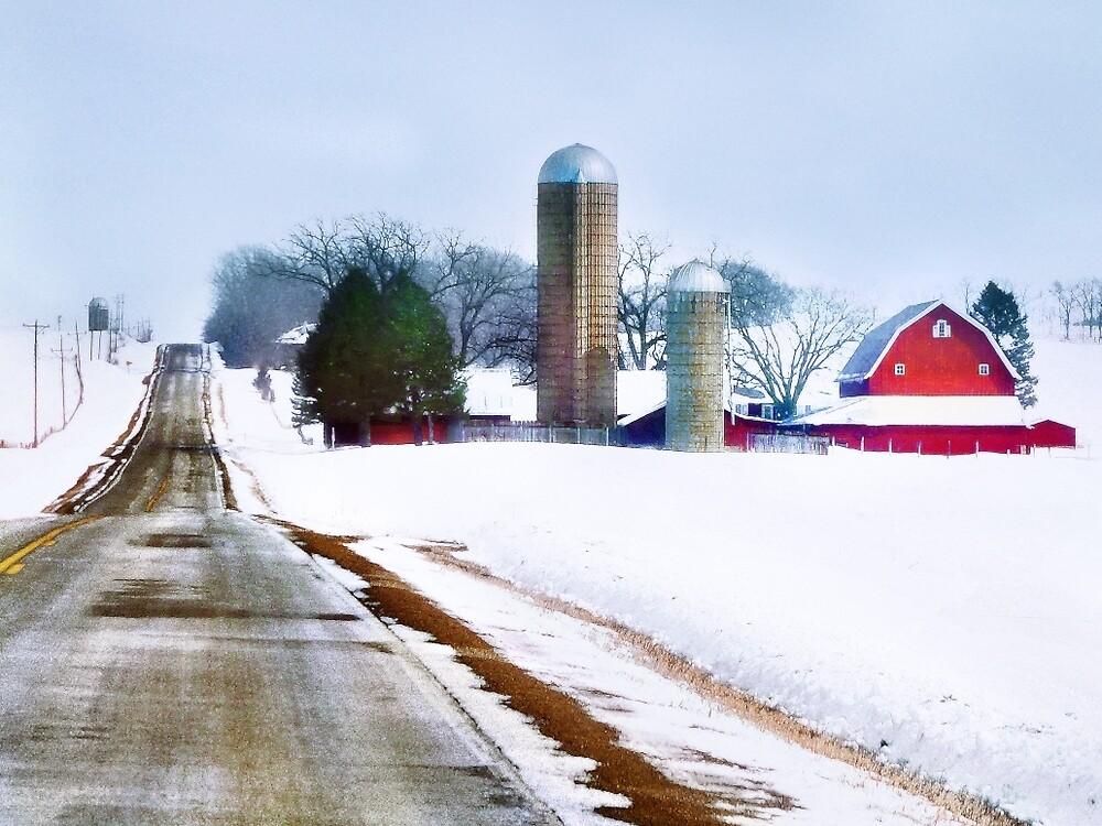 Farm Along a Snowy Road by Nadya Johnson