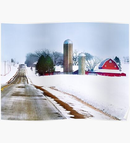 Farm Along a Snowy Road Poster