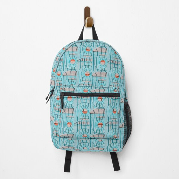 Sea Blue Repeat Pattern Backpack