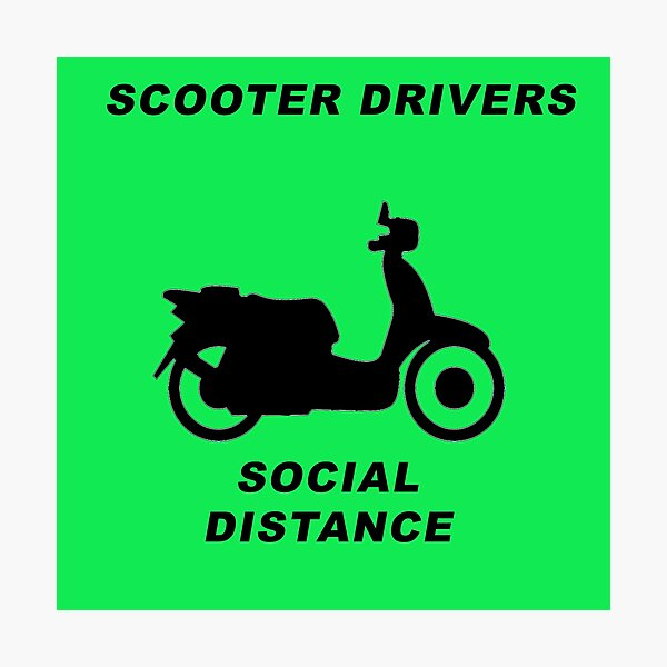 Social Distance Scooter Drivers Photographic Print
