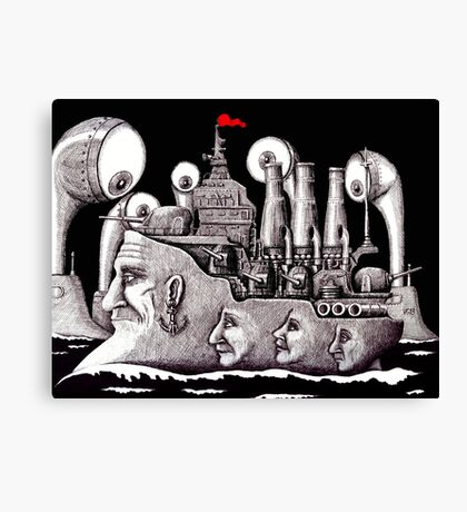 Revolutionary Ship ink pen drawing on paper Canvas Print
