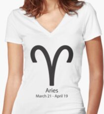 Zodiac sign Aries March 21 - April 19 Women's Fitted V-Neck T-Shirt
