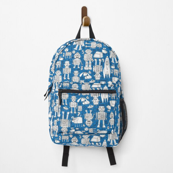Robot Pattern - white on blue - Fun repeat pattern by Cecca Designs Backpack