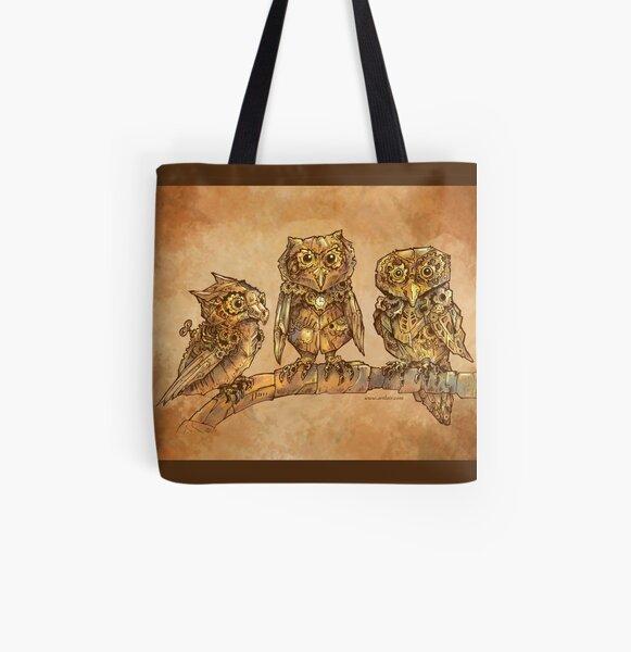Three Clockwork Owls All Over Print Tote Bag
