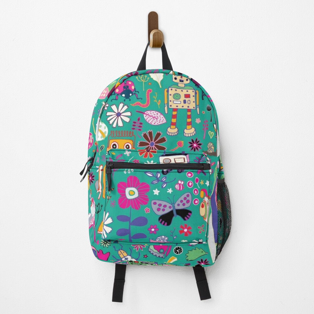 Electric Dreams - pink and turquoise - floral robot fun pattern by Cecca Designs Backpack