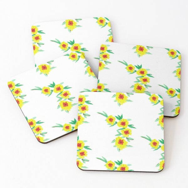 Yellow Flowers Coasters (Set of 4)
