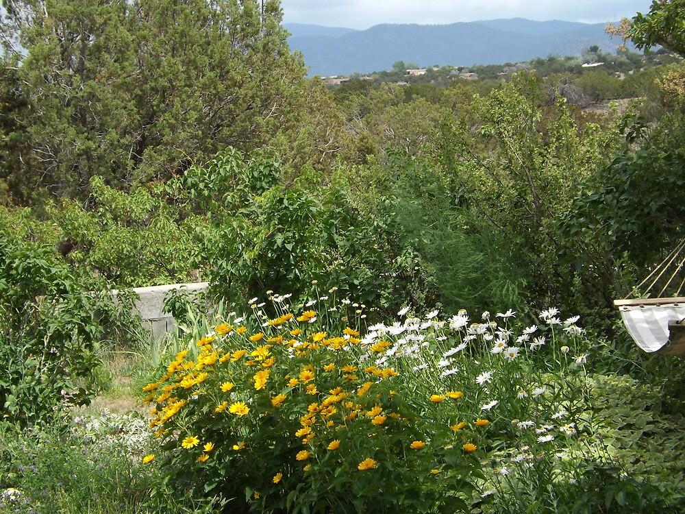 Garden and Mountains, Santa Fe, New Mexico by lenspiro