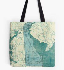 Delaware Map Blue Vintage Tote Bag