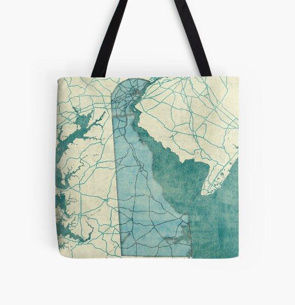 Delaware Map Blue Vintage All Over Print Tote Bag