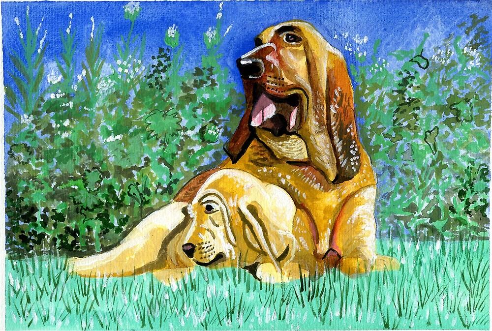 Bloodhound Dog Portrait by Oldetimemercan
