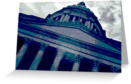 Olympia Capitol Building in Blue by DesignsbyAngela