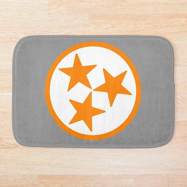 White & Orange Tri-Star Bath Mat