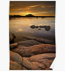 Sunset on the Rocks Poster
