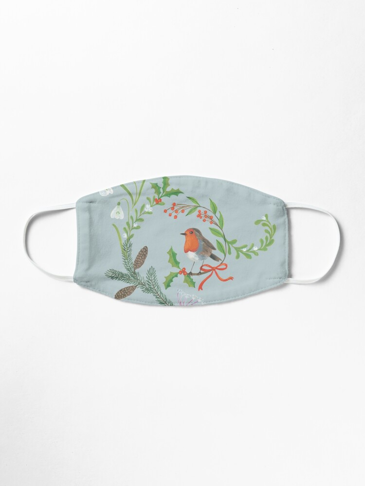 Alternate view of Christmas Chintz with Robin - Traditional chintz by Cecca Designs Mask