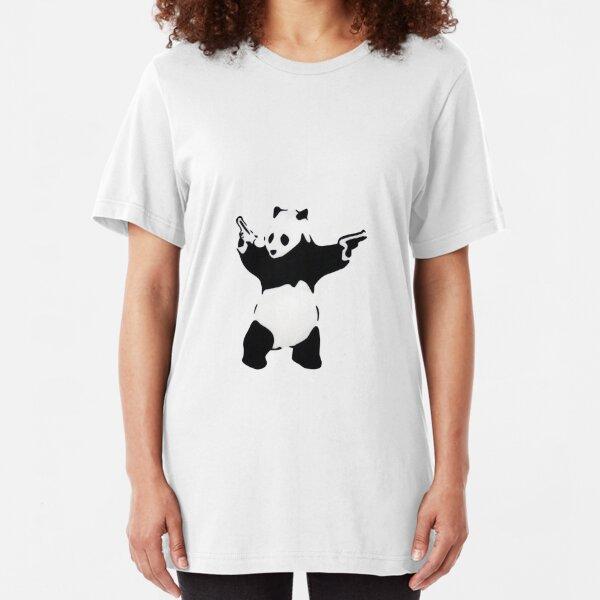 Banksy Panda With Handguns Slim Fit T-Shirt